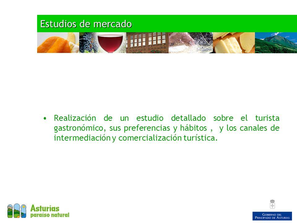 Estudios de mercado Realización de un estudio detallado sobre el turista gastronómico, sus preferencias y hábitos, y los canales de intermediación y comercialización turística.