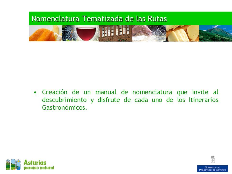 Nomenclatura Tematizada de las Rutas Creación de un manual de nomenclatura que invite al descubrimiento y disfrute de cada uno de los Itinerarios Gastronómicos.