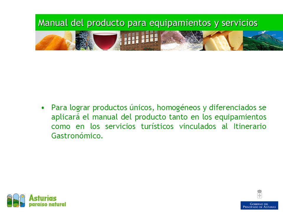 Manual del producto para equipamientos y servicios Para lograr productos únicos, homogéneos y diferenciados se aplicará el manual del producto tanto en los equipamientos como en los servicios turísticos vinculados al Itinerario Gastronómico.
