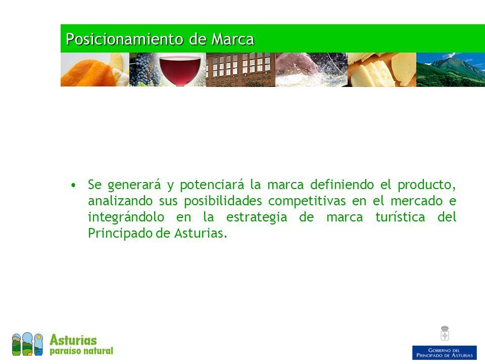 Posicionamiento de Marca Se generará y potenciará la marca definiendo el producto, analizando sus posibilidades competitivas en el mercado e integrándolo en la estrategia de marca turística del Principado de Asturias.