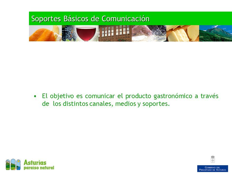 Soportes Básicos de Comunicación El objetivo es comunicar el producto gastronómico a través de los distintos canales, medios y soportes.