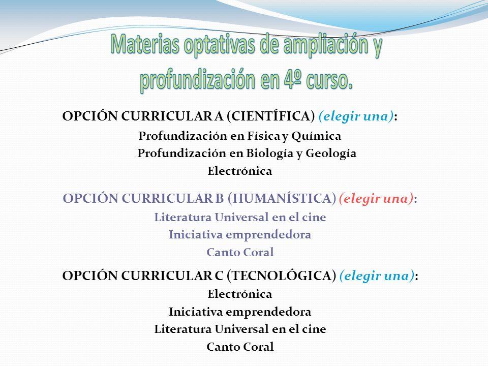 Opciones de Matemáticas 4º ESO Opción A Científica Matemáticas B Opción B Humanística Matemáticas A/B Opción C Tecnológica Matemáticas A
