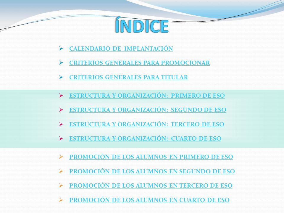 CALENDARIO DE IMPLANTACIÓN CRITERIOS GENERALES PARA PROMOCIONAR CRITERIOS GENERALES PARA TITULAR ESTRUCTURA Y ORGANIZACIÓN: PRIMERO DE ESO ESTRUCTURA Y ORGANIZACIÓN: SEGUNDO DE ESO ESTRUCTURA Y ORGANIZACIÓN: TERCERO DE ESO ESTRUCTURA Y ORGANIZACIÓN: CUARTO DE ESO PROMOCIÓN DE LOS ALUMNOS EN PRIMERO DE ESO PROMOCIÓN DE LOS ALUMNOS EN SEGUNDO DE ESO PROMOCIÓN DE LOS ALUMNOS EN TERCERO DE ESO PROMOCIÓN DE LOS ALUMNOS EN CUARTO DE ESO