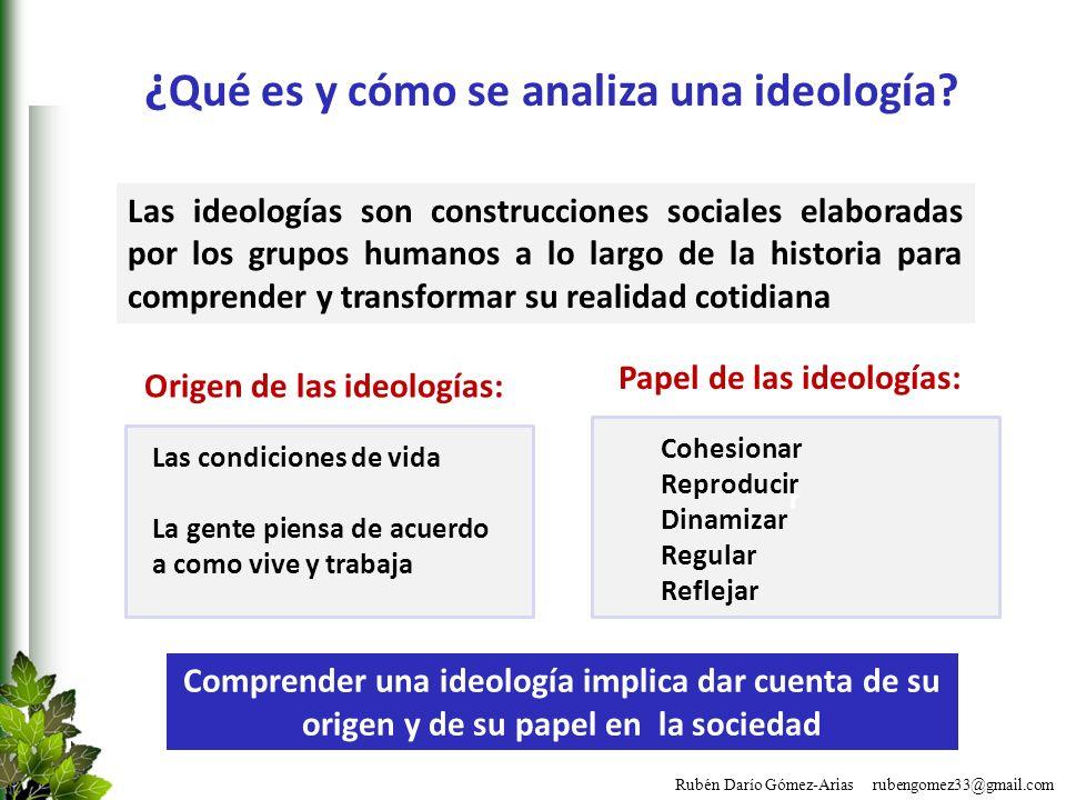 Rubén Darío Gómez-Arias rubengomez33@gmail.com ¿ Qué es y cómo se analiza una ideología? Las ideologías son construcciones sociales elaboradas por los