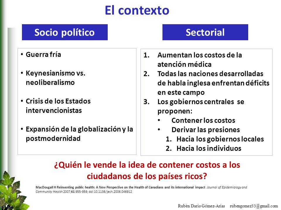 Rubén Darío Gómez-Arias rubengomez33@gmail.com El contexto Guerra fría Keynesianismo vs. neoliberalismo Crisis de los Estados intervencionistas Expans