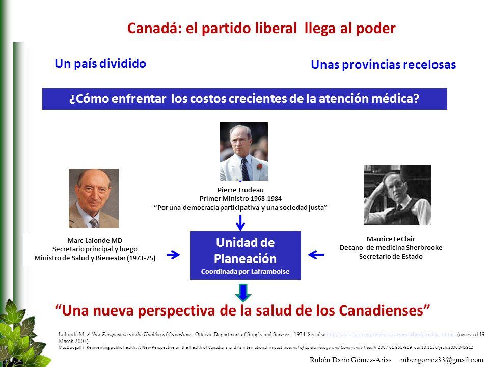 Rubén Darío Gómez-Arias rubengomez33@gmail.com Canadá: el partido liberal llega al poder Pierre Trudeau Primer Ministro 1968-1984 Por una democracia p