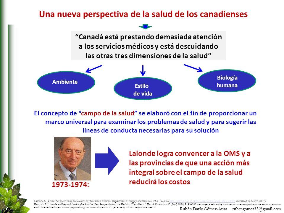 Rubén Darío Gómez-Arias rubengomez33@gmail.com Una nueva perspectiva de la salud de los canadienses El concepto de campo de la salud se elaboró con el
