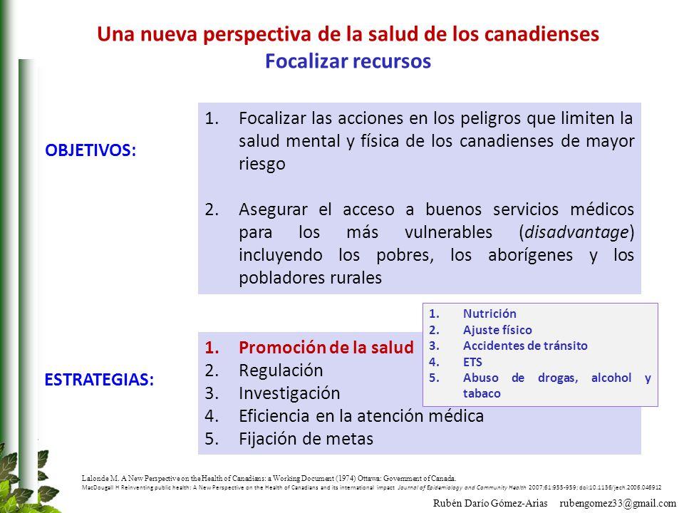Rubén Darío Gómez-Arias rubengomez33@gmail.com 1.Focalizar las acciones en los peligros que limiten la salud mental y física de los canadienses de may