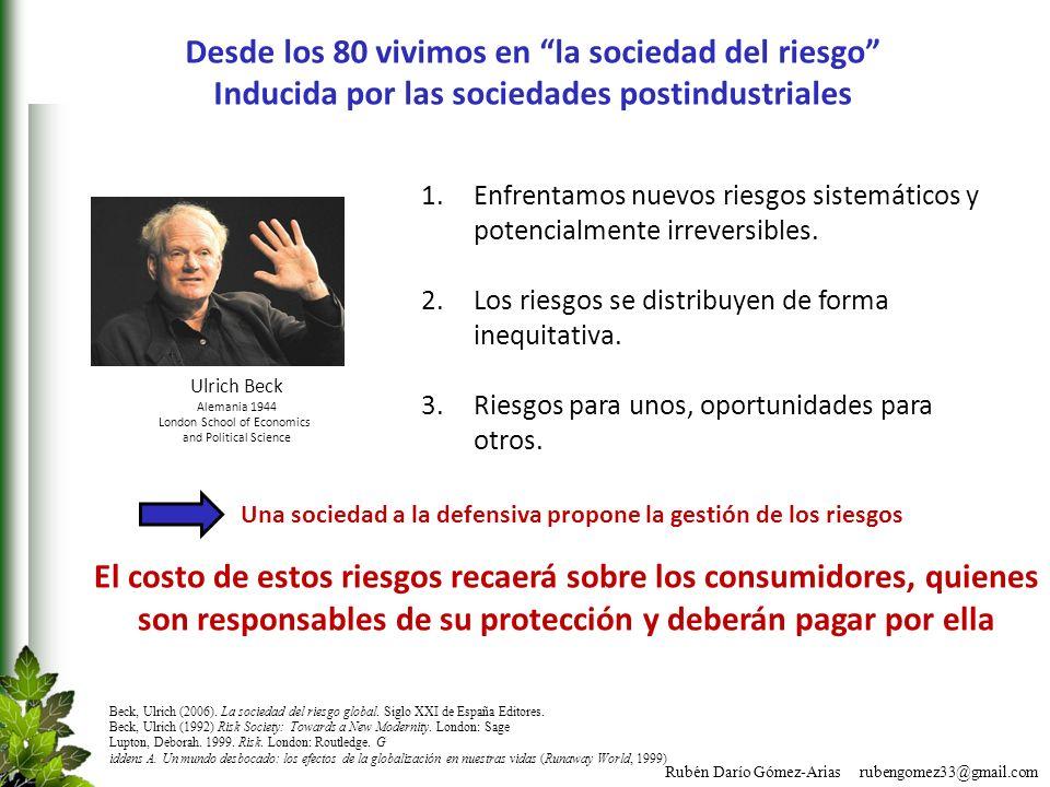 Rubén Darío Gómez-Arias rubengomez33@gmail.com Beck, Ulrich (2006). La sociedad del riesgo global. Siglo XXI de España Editores. Beck, Ulrich (1992) R