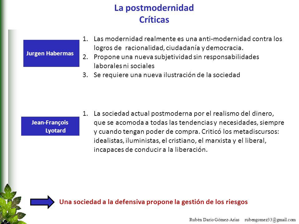 Rubén Darío Gómez-Arias rubengomez33@gmail.com La postmodernidad Críticas Una sociedad a la defensiva propone la gestión de los riesgos 1.Las modernid