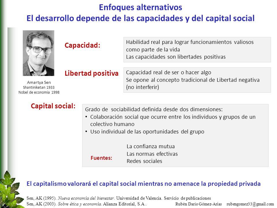 Rubén Darío Gómez-Arias rubengomez33@gmail.com Enfoques alternativos El desarrollo depende de las capacidades y del capital social Grado de sociabilid