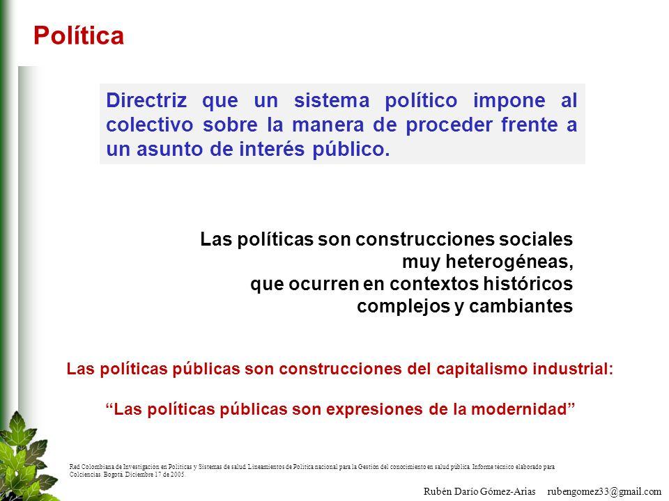 Rubén Darío Gómez-Arias rubengomez33@gmail.com Política Directriz que un sistema político impone al colectivo sobre la manera de proceder frente a un