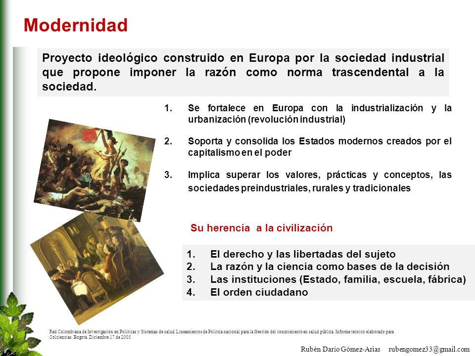 Rubén Darío Gómez-Arias rubengomez33@gmail.com Modernidad Proyecto ideológico construido en Europa por la sociedad industrial que propone imponer la r