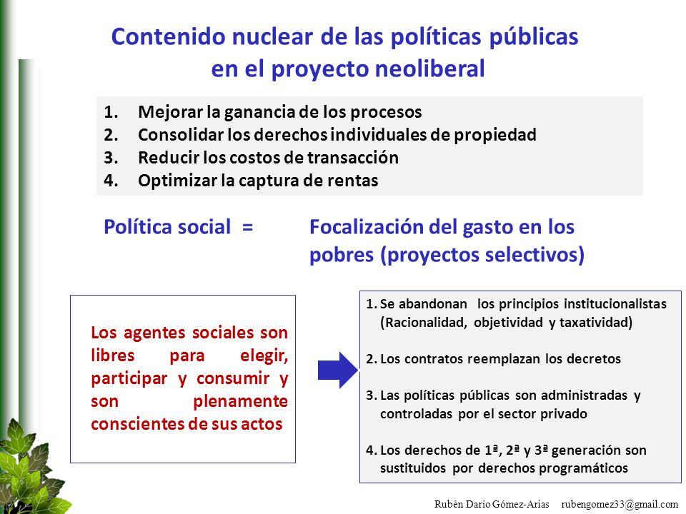 Rubén Darío Gómez-Arias rubengomez33@gmail.com Contenido nuclear de las políticas públicas en el proyecto neoliberal 1.Mejorar la ganancia de los proc