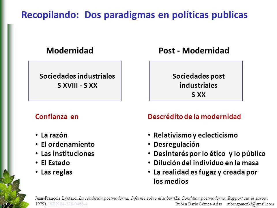 Rubén Darío Gómez-Arias rubengomez33@gmail.com Recopilando: Dos paradigmas en políticas publicas Sociedades industriales S XVIII - S XX Modernidad Con