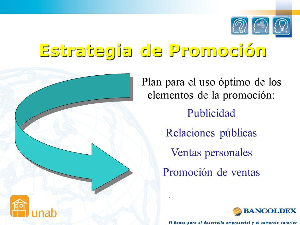 Estrategia de Promoción Plan para el uso óptimo de los elementos de la promoción: Publicidad Relaciones públicas Ventas personales Promoción de ventas