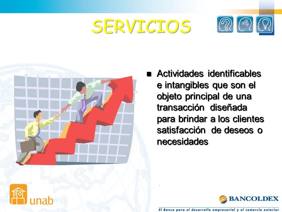 SERVICIOS Actividades identificables e intangibles que son el objeto principal de una transacción diseñada para brindar a los clientes satisfacción de