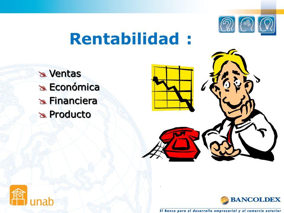 Rentabilidad : Ventas Ventas Económica Económica Financiera Financiera Producto Producto