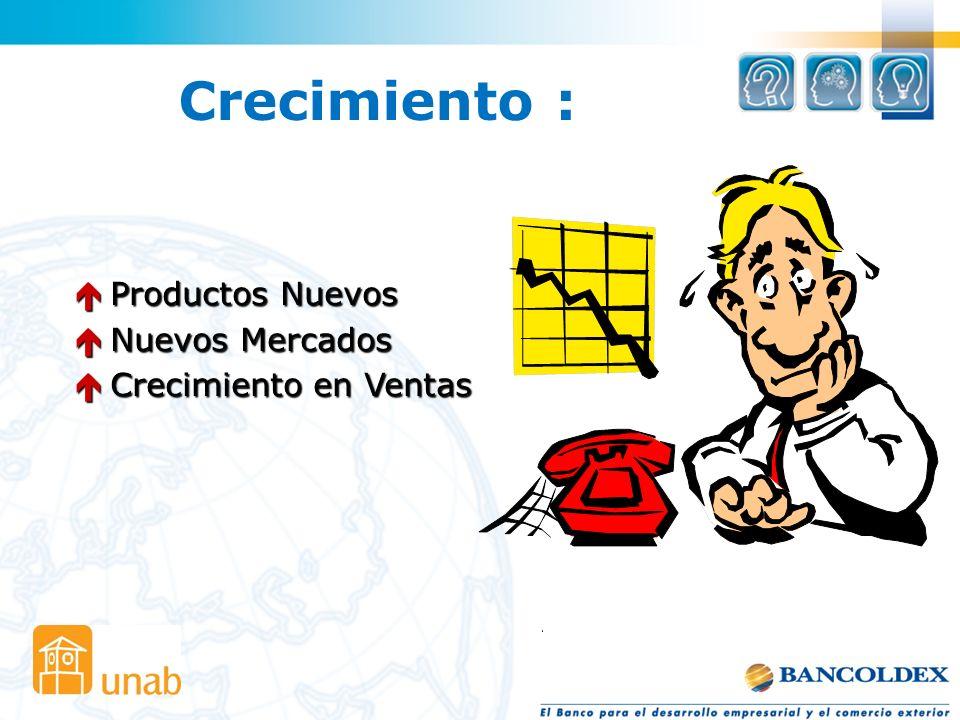 Crecimiento : Productos Nuevos Productos Nuevos Nuevos Mercados Nuevos Mercados Crecimiento en Ventas Crecimiento en Ventas