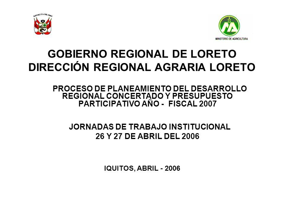 GOBIERNO REGIONAL DE LORETO DIRECCIÓN REGIONAL AGRARIA LORETO PROCESO DE PLANEAMIENTO DEL DESARROLLO REGIONAL CONCERTADO Y PRESUPUESTO PARTICIPATIVO A
