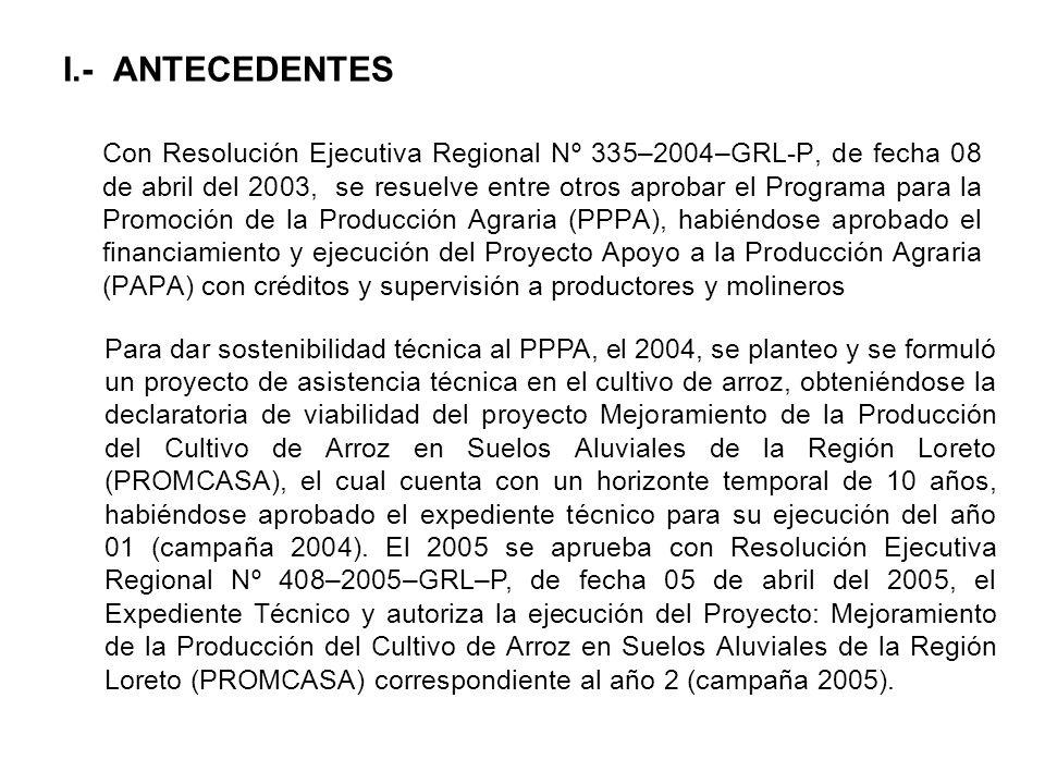 I.- ANTECEDENTES Con Resolución Ejecutiva Regional Nº 335–2004–GRL-P, de fecha 08 de abril del 2003, se resuelve entre otros aprobar el Programa para
