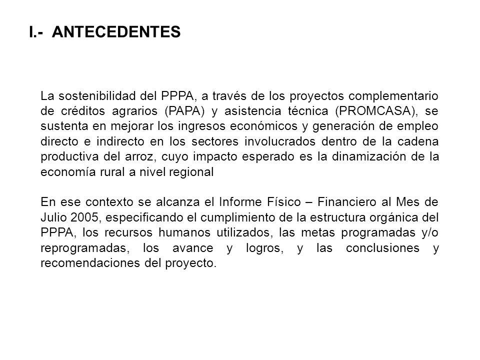 I.- ANTECEDENTES La sostenibilidad del PPPA, a través de los proyectos complementario de créditos agrarios (PAPA) y asistencia técnica (PROMCASA), se
