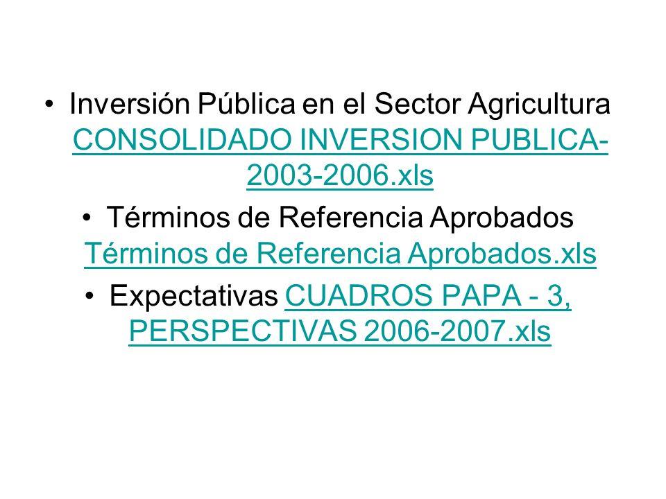 Inversión Pública en el Sector Agricultura CONSOLIDADO INVERSION PUBLICA- 2003-2006.xls CONSOLIDADO INVERSION PUBLICA- 2003-2006.xls Términos de Refer