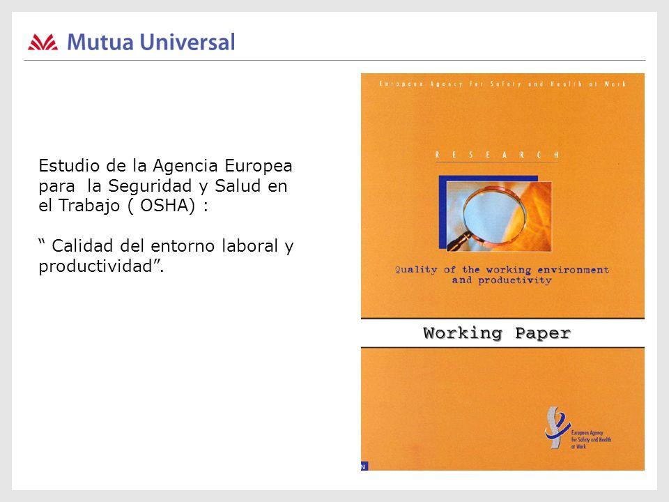 Estudio de la Agencia Europea para la Seguridad y Salud en el Trabajo ( OSHA) : Calidad del entorno laboral y productividad.
