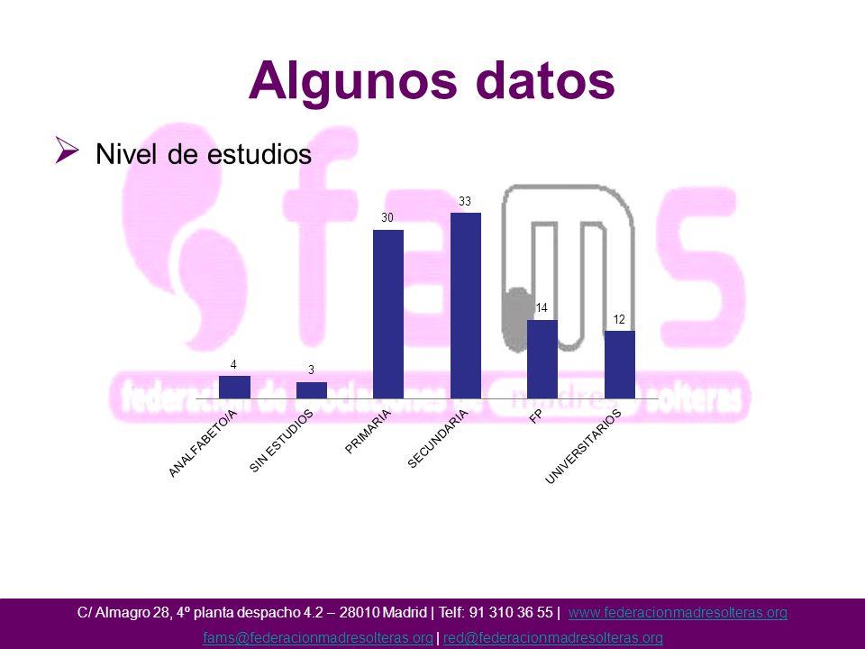 Algunos datos Nivel de estudios C/ Almagro 28, 4º planta despacho 4.2 – 28010 Madrid | Telf: 91 310 36 55 | www.federacionmadresolteras.orgwww.federacionmadresolteras.org fams@federacionmadresolteras.orgfams@federacionmadresolteras.org | red@federacionmadresolteras.orgred@federacionmadresolteras.org