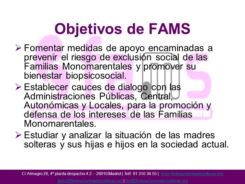 Objetivos de FAMS Fomentar medidas de apoyo encaminadas a prevenir el riesgo de exclusión social de las Familias Monomarentales y promover su bienestar biopsicosocial.
