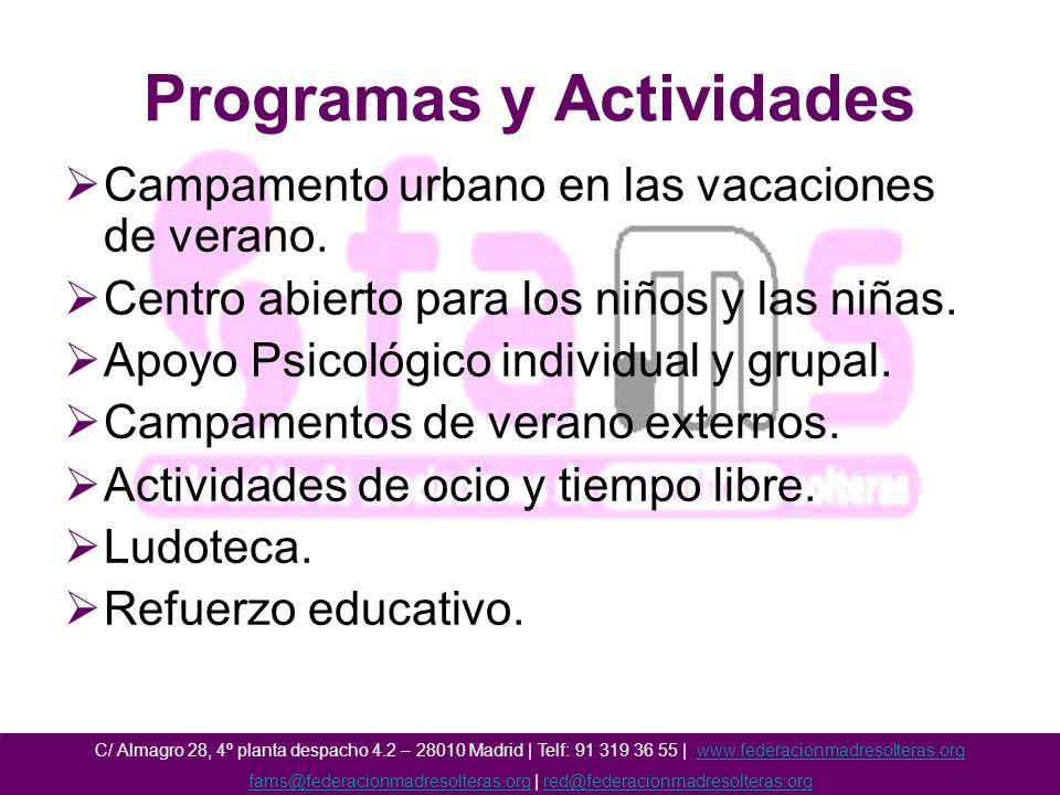 Programas y Actividades Campamento urbano en las vacaciones de verano.