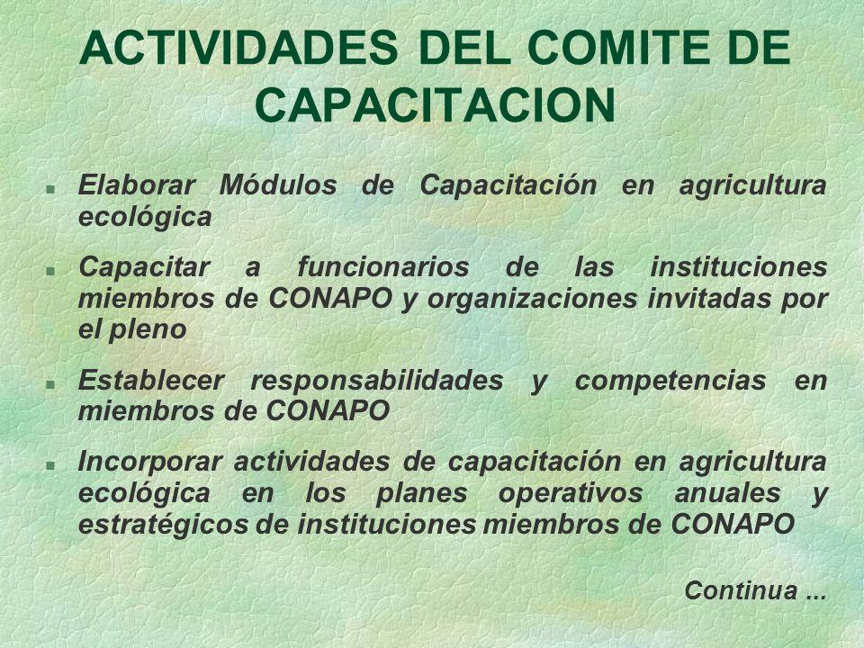 ACTIVIDADES DEL COMITE DE CAPACITACION n Elaborar Módulos de Capacitación en agricultura ecológica n Capacitar a funcionarios de las instituciones mie
