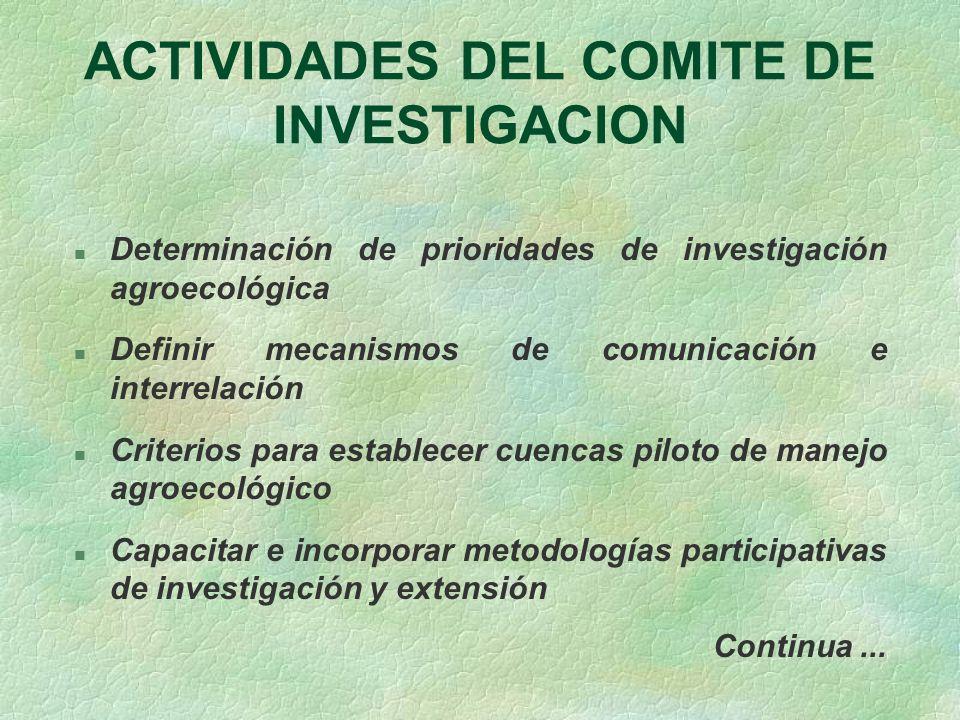 ACTIVIDADES DEL COMITE DE INVESTIGACION n Determinación de prioridades de investigación agroecológica n Definir mecanismos de comunicación e interrela