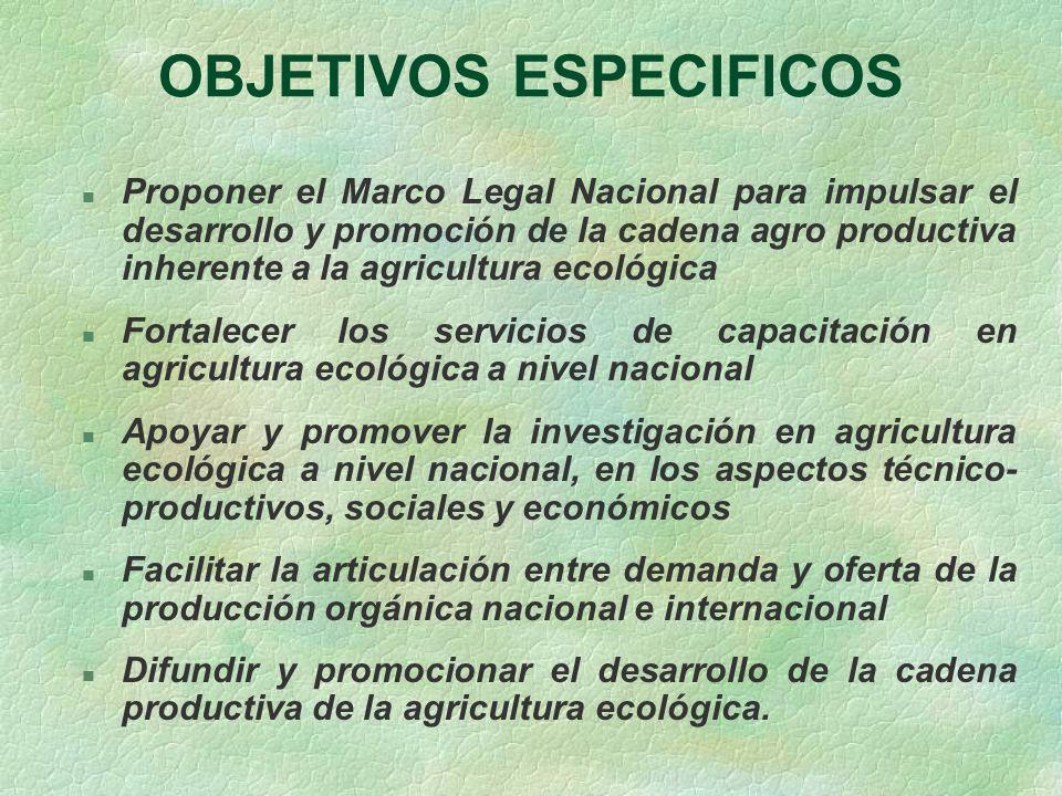 OBJETIVOS ESPECIFICOS n Proponer el Marco Legal Nacional para impulsar el desarrollo y promoción de la cadena agro productiva inherente a la agricultu