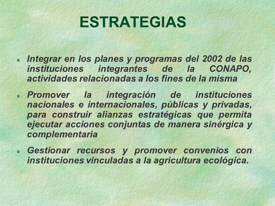 ESTRATEGIAS n Integrar en los planes y programas del 2002 de las instituciones integrantes de la CONAPO, actividades relacionadas a los fines de la mi