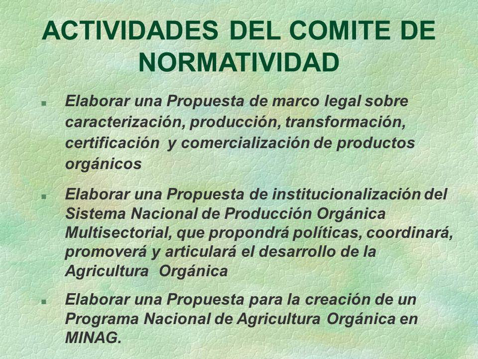 ACTIVIDADES DEL COMITE DE NORMATIVIDAD n Elaborar una Propuesta de marco legal sobre caracterización, producción, transformación, certificación y come