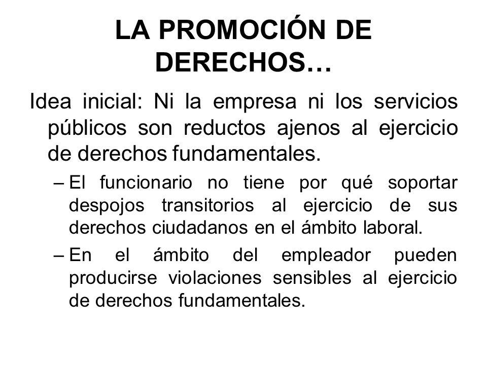 LA PROMOCIÓN DE DERECHOS… Idea inicial: Ni la empresa ni los servicios públicos son reductos ajenos al ejercicio de derechos fundamentales. –El funcio