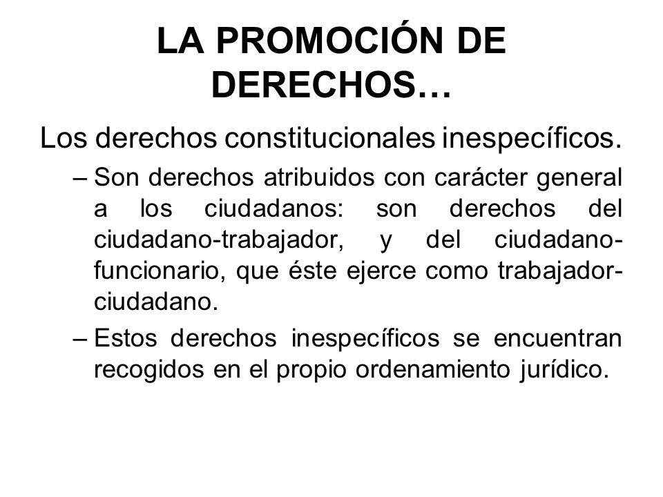 LA PROMOCIÓN DE DERECHOS… Los derechos constitucionales inespecíficos. –Son derechos atribuidos con carácter general a los ciudadanos: son derechos de