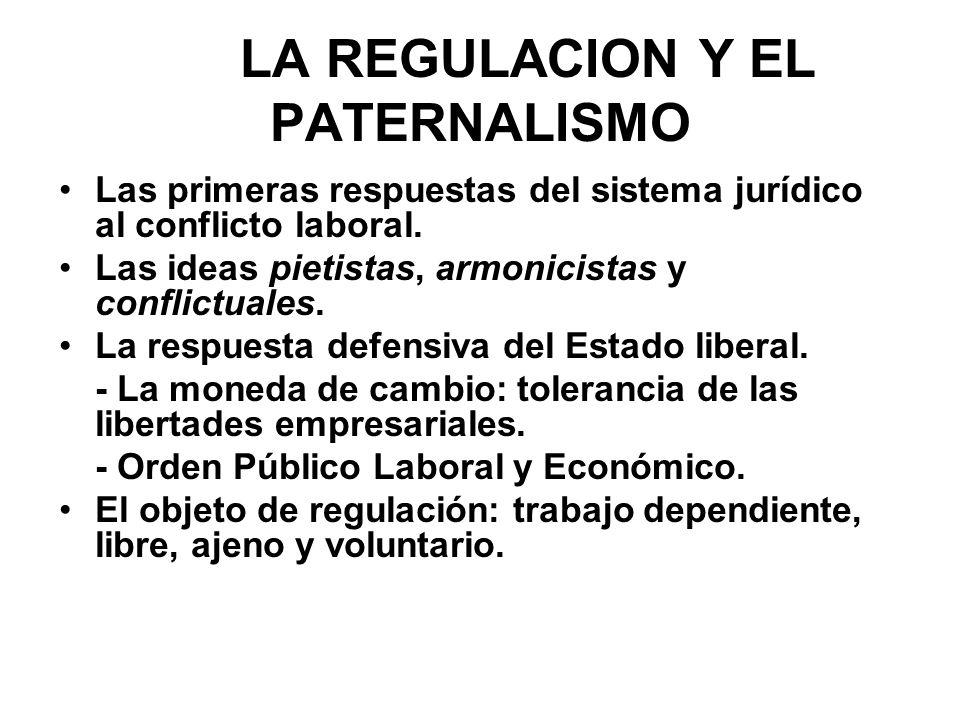 LA REGULACION Y EL PATERNALISMO Las primeras respuestas del sistema jurídico al conflicto laboral. Las ideas pietistas, armonicistas y conflictuales.