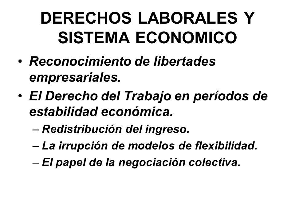 DERECHOS LABORALES Y SISTEMA ECONOMICO Reconocimiento de libertades empresariales. El Derecho del Trabajo en períodos de estabilidad económica. –Redis