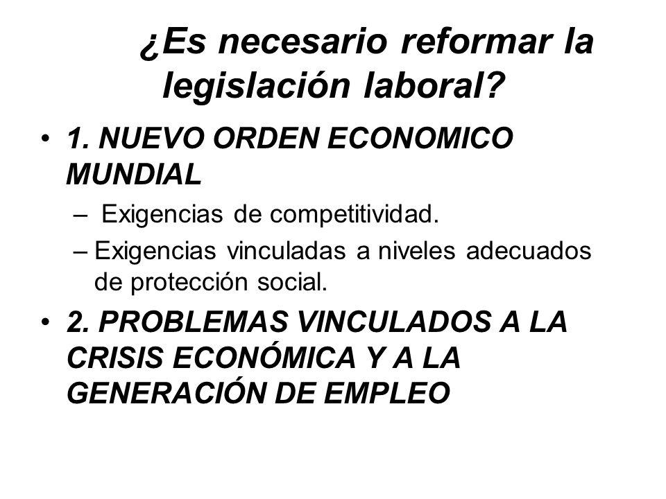 ¿Es necesario reformar la legislación laboral? 1. NUEVO ORDEN ECONOMICO MUNDIAL – Exigencias de competitividad. –Exigencias vinculadas a niveles adecu