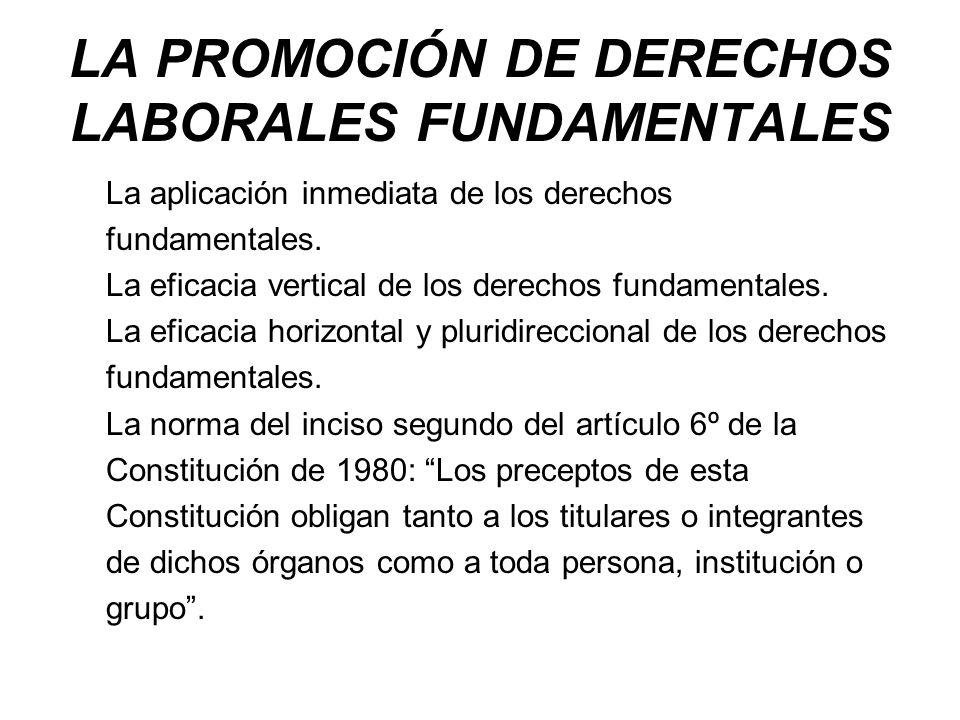 LA PROMOCIÓN DE DERECHOS LABORALES FUNDAMENTALES La aplicación inmediata de los derechos fundamentales. La eficacia vertical de los derechos fundament