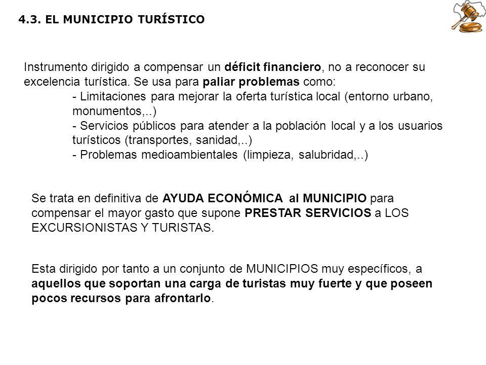 4.3. EL MUNICIPIO TURÍSTICO Instrumento dirigido a compensar un déficit financiero, no a reconocer su excelencia turística. Se usa para paliar problem