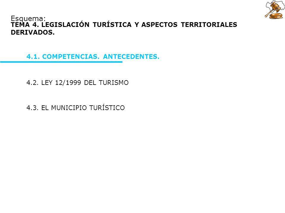 4.3. EL MUNICIPIO TURÍSTICO Esquema: 4.2. LEY 12/1999 DEL TURISMO TEMA 4. LEGISLACIÓN TURÍSTICA Y ASPECTOS TERRITORIALES DERIVADOS. 4.1. COMPETENCIAS.