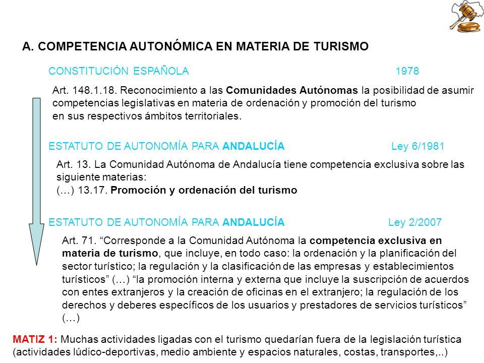 A. COMPETENCIA AUTONÓMICA EN MATERIA DE TURISMO CONSTITUCIÓN ESPAÑOLA 1978 Art. 148.1.18. Reconocimiento a las Comunidades Autónomas la posibilidad de