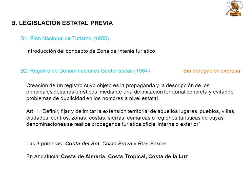 B. LEGISLACIÓN ESTATAL PREVIA B2. Registro de Denominaciones Geoturísticas (1964) Sin derogación expresa Creación de un registro cuyo objeto es la pro