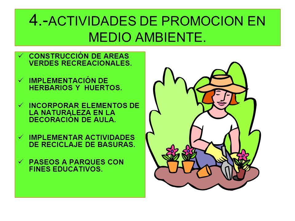 4.- ACTIVIDADES DE PROMOCION EN MEDIO AMBIENTE. CONSTRUCCIÓN DE AREAS VERDES RECREACIONALES. IMPLEMENTACIÓN DE HERBARIOS Y HUERTOS. INCORPORAR ELEMENT