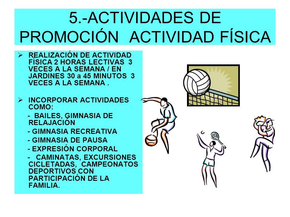 5.-ACTIVIDADES DE PROMOCIÓN ACTIVIDAD FÍSICA REALIZACIÓN DE ACTIVIDAD FÍSICA 2 HORAS LECTIVAS 3 VECES A LA SEMANA / EN JARDINES 30 a 45 MINUTOS 3 VECE