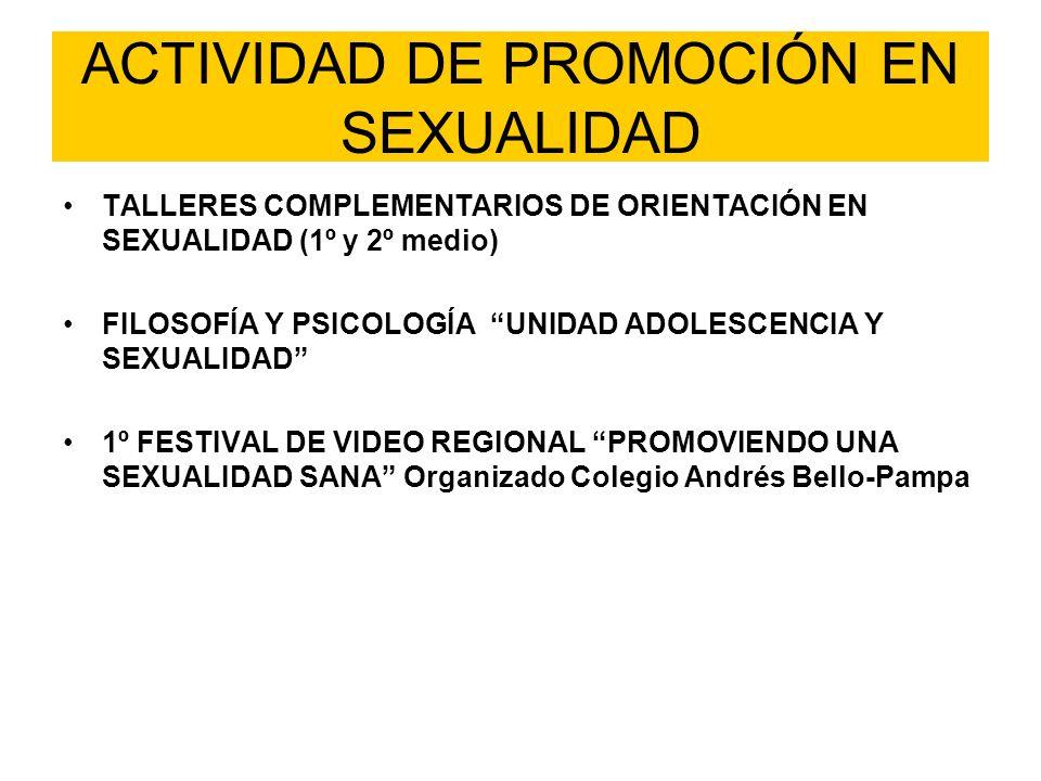 ACTIVIDAD DE PROMOCIÓN EN SEXUALIDAD TALLERES COMPLEMENTARIOS DE ORIENTACIÓN EN SEXUALIDAD (1º y 2º medio) FILOSOFÍA Y PSICOLOGÍA UNIDAD ADOLESCENCIA