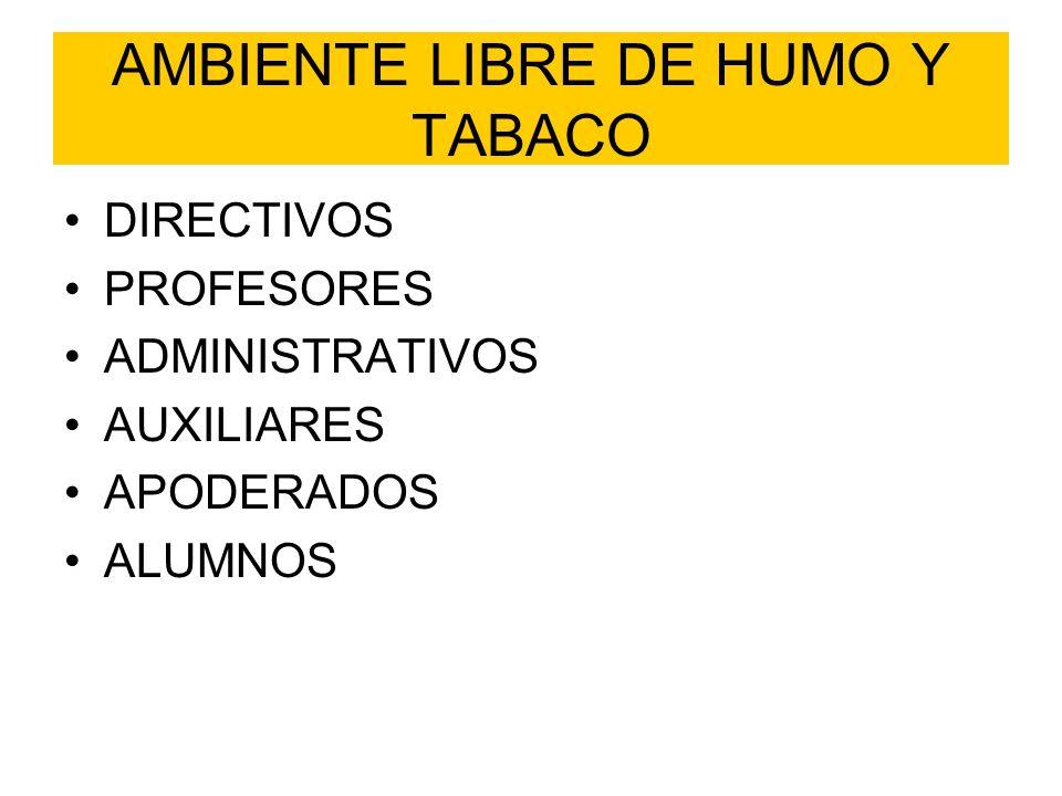 AMBIENTE LIBRE DE HUMO Y TABACO DIRECTIVOS PROFESORES ADMINISTRATIVOS AUXILIARES APODERADOS ALUMNOS